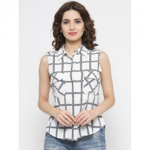 Silly People Women White Regular Fit Checked Casual Shirt