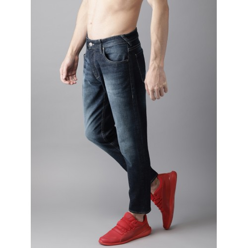 HERE&NOW Men Blue Tapered Fit Mid-Rise Clean Look Stretchable Jeans