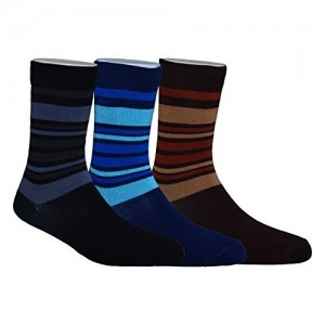 Footmate Socks For Men Mid Calf Solid Stripe Finest 30 Count Hosiery Cotton Multi-Coloured, ML2 (Set Of 3 Pair)