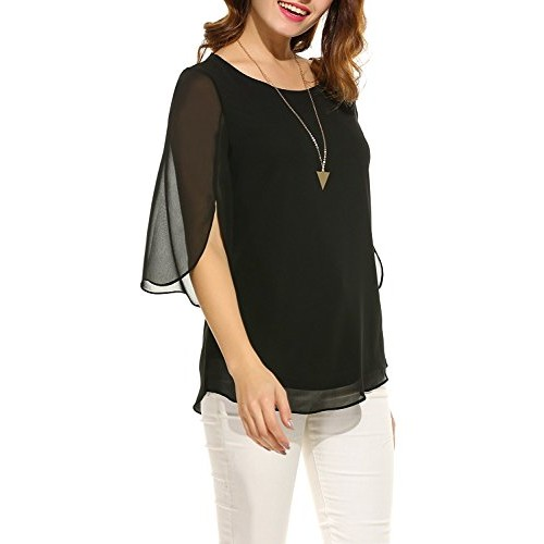 9eed9d7a093 ... Pegaso Fashion Women Girls Blouse Top Tees Shirt Tunic Fabric Georgette(Scoop  Neck 3 ...