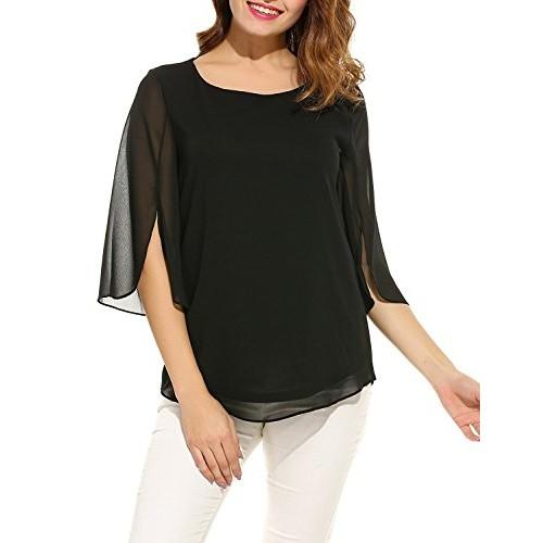 5a867f8dcd1 Pegaso Fashion Women Girls Blouse Top Tees Shirt Tunic Fabric Georgette(Scoop  Neck 3 ...