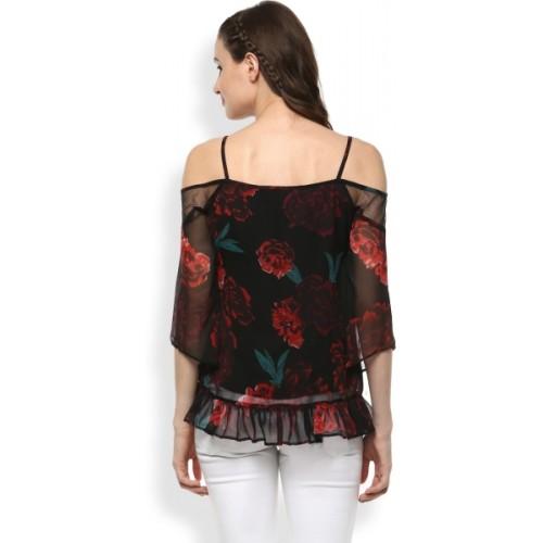Rare Women Black Floral Print Bardot Top (EP1671A)