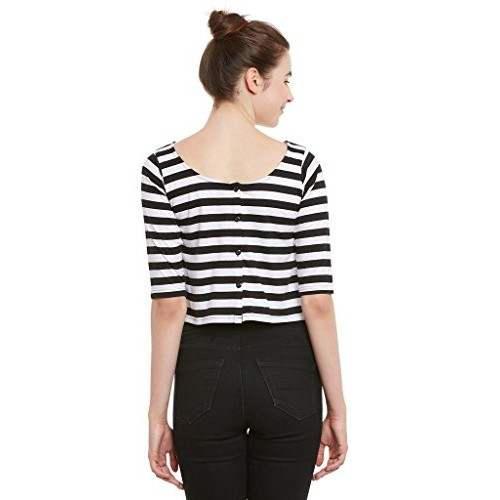 Miss Chase Womens Black and White Striped Crop Top