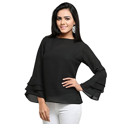 Serein Women's Top (Black crepe top with double flute sleeves)