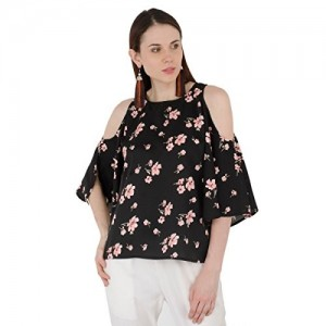 a7f6f7990c5a81 SIVYATI American Crepe Floral Print Black Cold Shoulder Top for Women