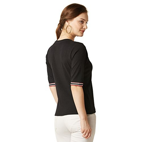 Miss Chase Women's Black Ribbed Top
