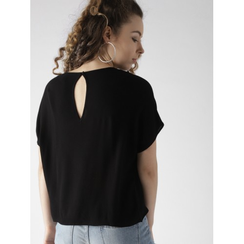 FOREVER 21 Women Black Solid Boxy Top