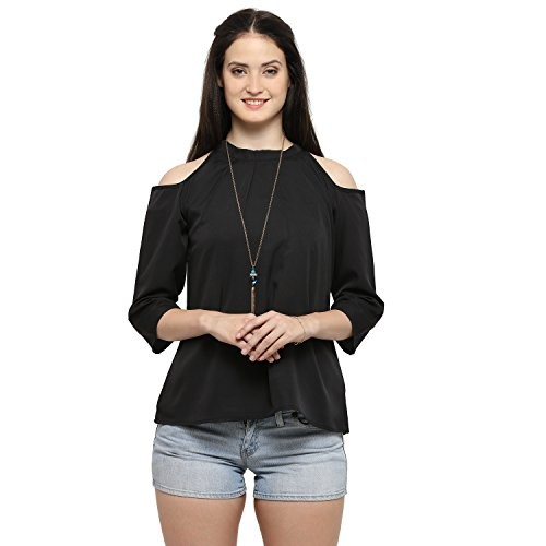 d3f1c8bb18c0af ... Serein Women s Top (Black crepe top with cold shoulder and 3 4th  sleeve) ...