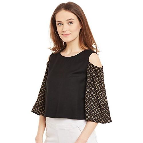 074b0eedc0704 Buy 9Rasa Women Cotton Viscose Block Printed Cold Shoulder Top ...