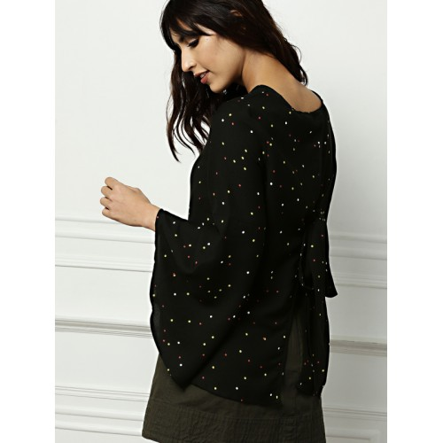 all about you from Deepika Padukone Women Black Printed Styled Back Top