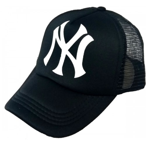 22111b5accc ... Friendskart Printed Printed Black Ny Printed In Black Colour Half Net  Cap