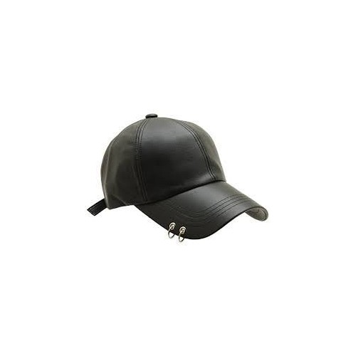 e3d3cf712ef Buy Metal Rings Black Leather Baseball Cap For Men Women Unisex ...