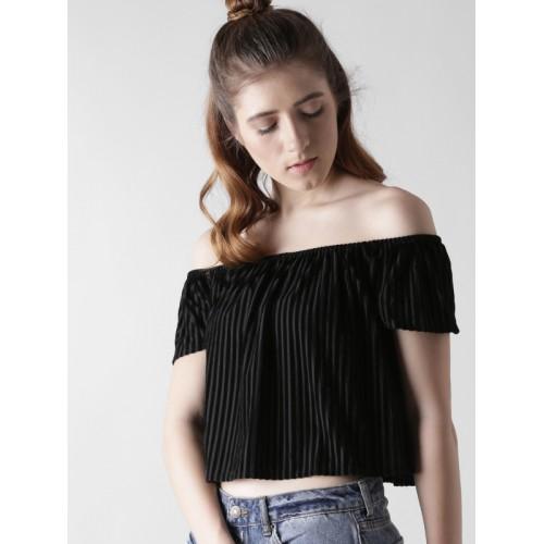FOREVER 21 Women Black Striped Crop Bardot Top
