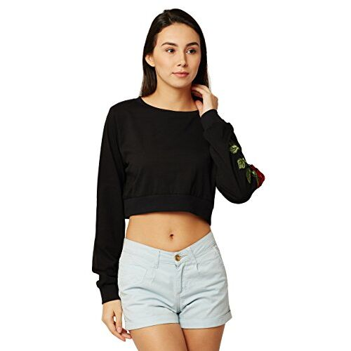Miss Chase Women Black Solid Boxy Top