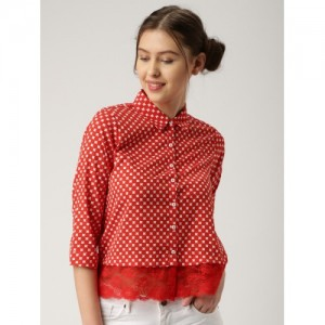 DressBerry Women Red & White Regular Fit Printed Casual Shirt