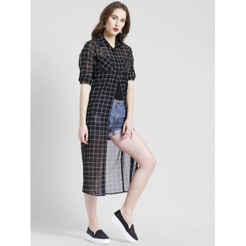 Texco Women Black & White Regular Fit Checked Longline Casual Shirt