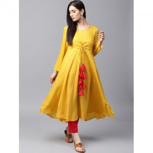 AKS Women Mustard Yellow Solid Layered Anarkali Kurta