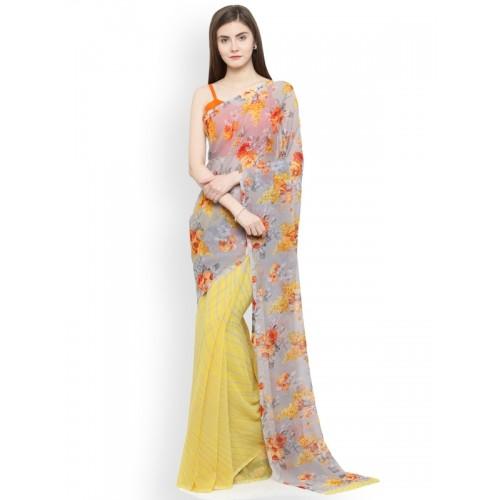 Shaily Grey & Yellow Pure Georgette Floral Print Half & Half Saree
