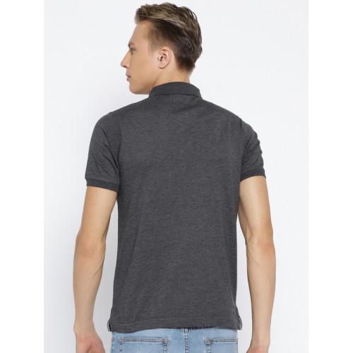 Cloak & Decker by Monte Carlo Men Charcoal Grey Solid Polo Collar T-shirt