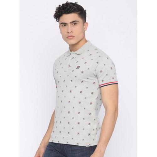 FILA Men Grey Melange Printed Polo T-shirt