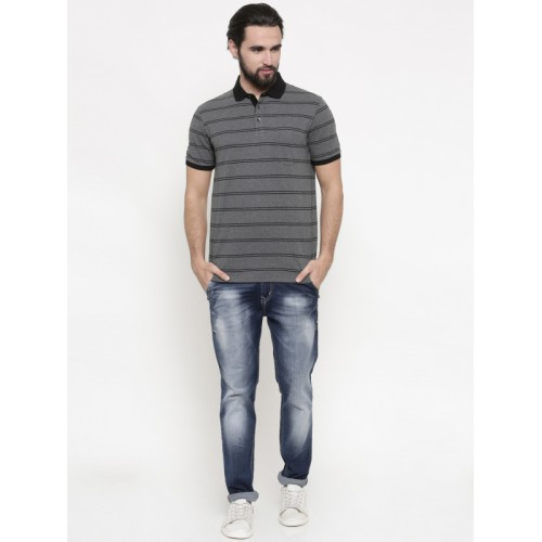 Indian Terrain Men Charcoal Grey & Black Striped Polo T-shirt