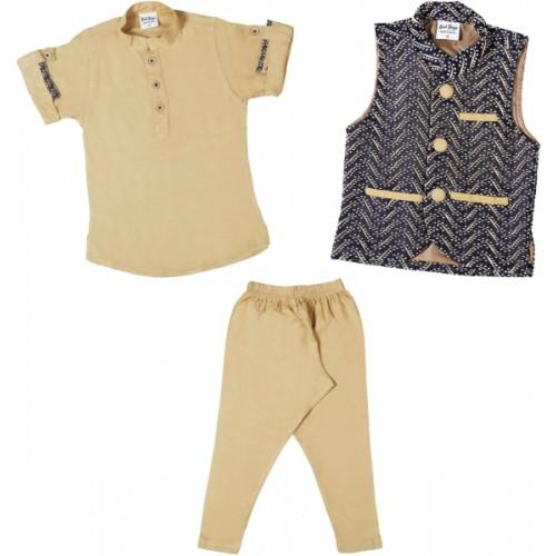 Bad Boys Boy's Festive & Party Kurta, Waistcoat and Pyjama Set