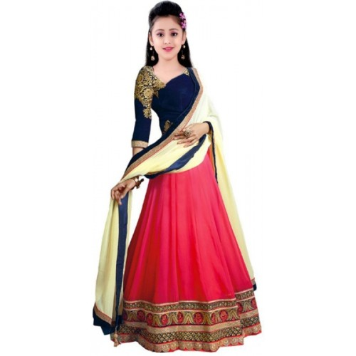 MF Retail Girl's Lehenga Choli Ethnic Wear Embroidered Lehenga, Choli and Dupatta Set