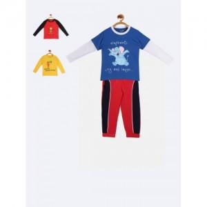 4ab89a655213 Buy Lazy Shark Boys Cotton Printed Blue Nightwear Top   Bottom Set ...