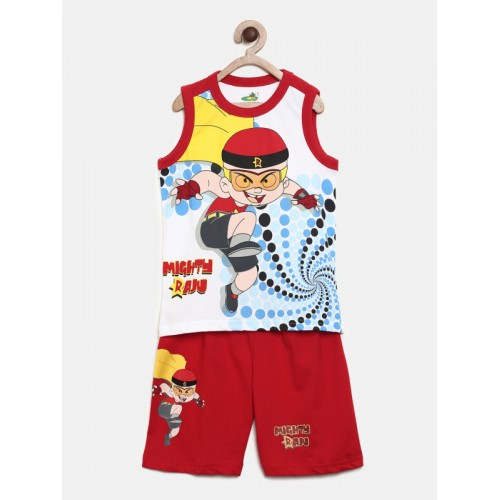 50413b2ca6 Buy MIGHTY RAJU Boys White & Red Printed T-shirt with Shorts online ...