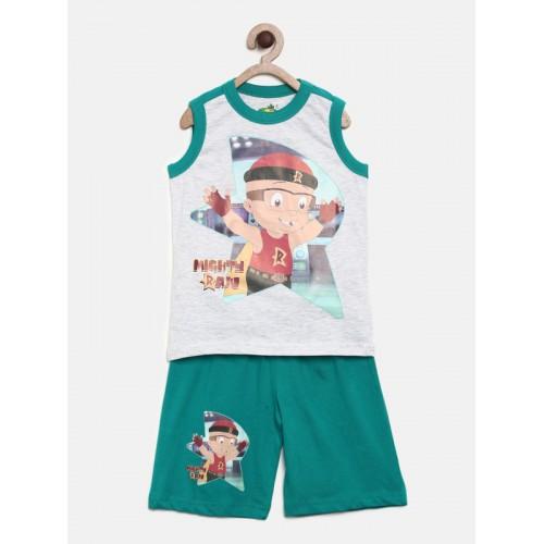 8f263f17dc ... MIGHTY RAJU Boys Grey Melange & Teal Printed T-shirt with Shorts ...