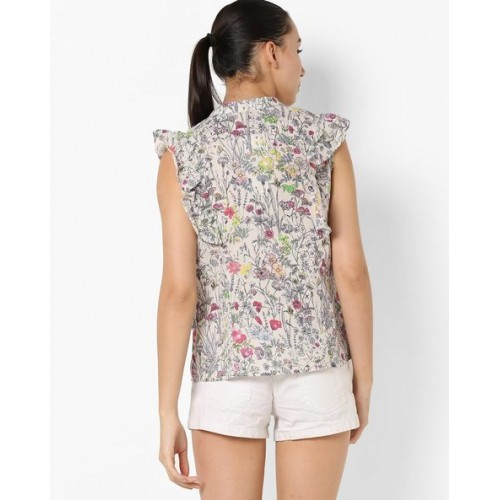 Oxolloxo Floral Print Sleeveless Shirt with Ruffles
