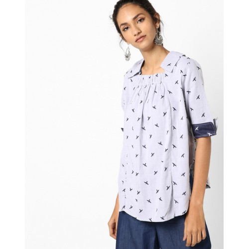 090cc2b861e935 Buy AJIO Printed Shirt with Back Button Placket online