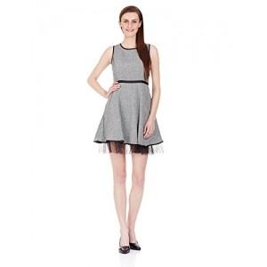 Elle Women's Wool A-Line Dress (Eedr0054_Grey _Large)
