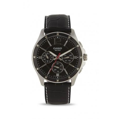 Casio MTP-1374L-1AVDF (A834) Black Round Leather Analog Watch