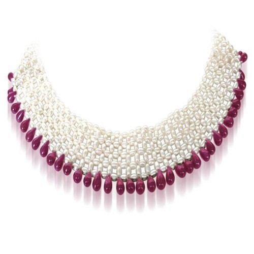 be4419f31c ... Surat Diamonds Real Drop Ruby & Rice Pearl Choker Necklace for Women ...