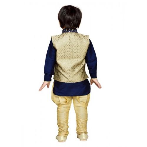 AJ Dezines Navy Blue Kurta Waistcoat and Breeches Set
