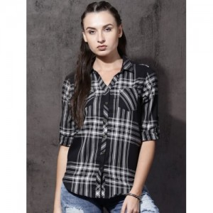 Roadster Women Black & Off-White Slim Fit Checked Casual Shirt
