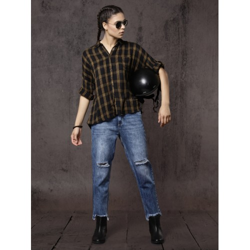 Roadster Time Travlr Women Black & Mustard Yellow Regular Fit Checked Casual Shirt