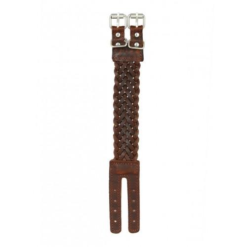 The Jewelbox Braided Dark Brown 100 Genuine Handcrafted Leather Wrist Band Strap Biker Bracelet Boys Men