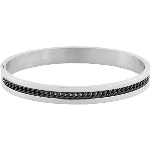 Designer Curb Black Silver 316L Surgical Stainless Steel Openable Free Size Kada Bangle Bracelet Men