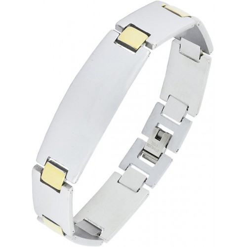 The Jewelbox Glossy Two Tone 18K Gold Accents 316L Surgical Stainless Steel Chain Bracelet For Boys Men
