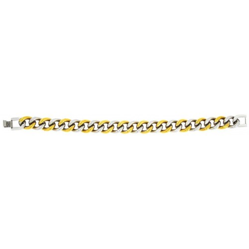 The Jewelbox Curb 18K Gold Plated Rhodium Two Tone Glossy Stainless Steel Bracelet For Men