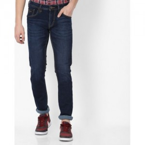 FLYING MACHINE Lightly Washed Mid-Rise Tapered Jeans
