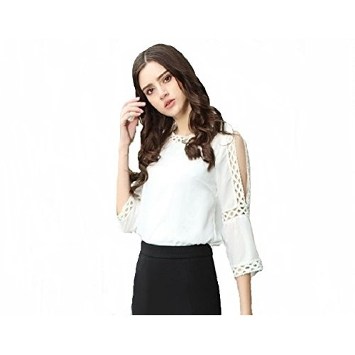 96f23c551f9e2 ... POISON IVY Women s White Rayon Blouse Round Neck Lace Cut Out 3 4  Sleeve Cold ...