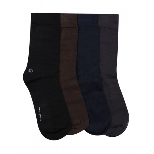 Bonjour Men Pack of 4 Assorted Calf-Length Socks