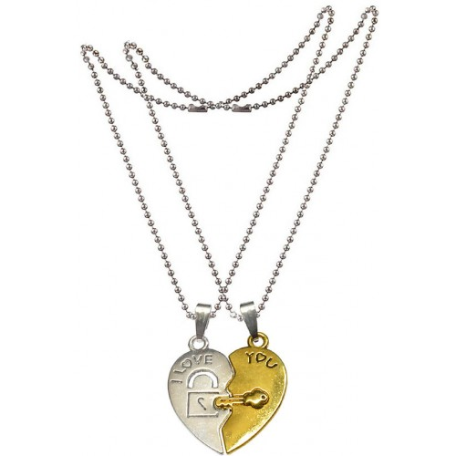 e6dd1bc621 ... Men Style Couples Broken Heart Key LockEngrave I Love You Gold And  Silver Zinc Alloy Necklace ...