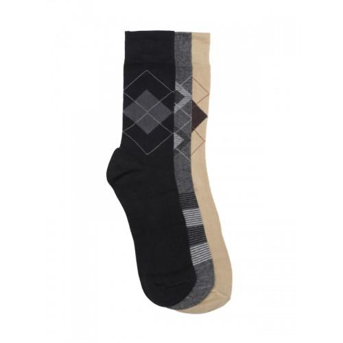 INVICTUS Men Set of 3 Patterned Above Ankle-Length Socks