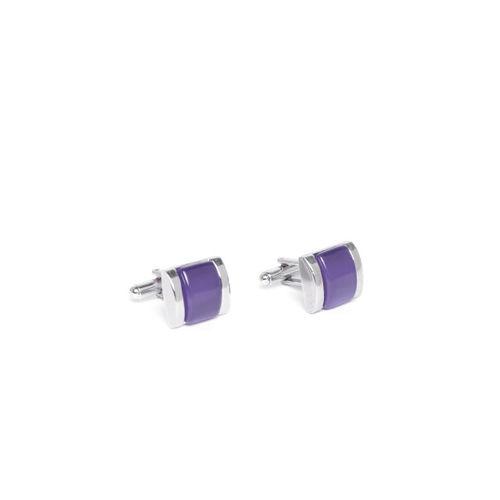 INVICTUS Silver-Toned & Purple Rectangle Cufflinks