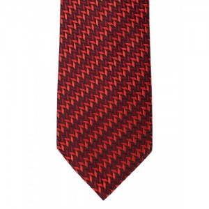 Peter England Statements Red & Burgundy Woven Design Broad Tie