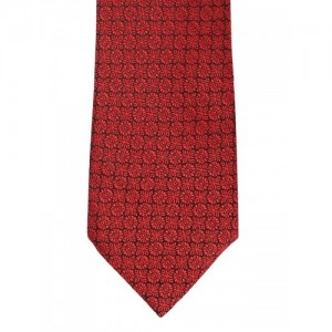 Peter England Statements Red & Black Woven Design Broad Tie